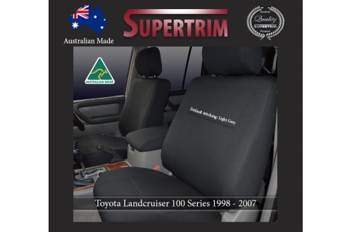 FRONT Seat Covers (light grey thread) for Toyota Landcruiser 100 Series Premium Neoprene Waterproof